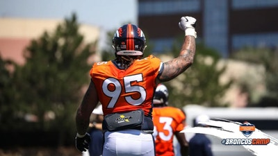 quality design 52cb3 04d32 Broncos TE Bug Howard carted off at training camp